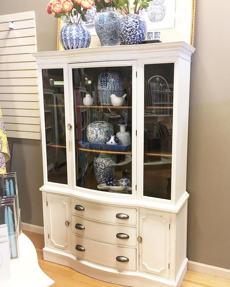 """26 Likes, 4 Comments - The Squeaky Door (@thesqueakydoor) on Instagram: """"We put a couple new pieces in the shop today!! :) I love this bow front china cabinet!! The inside…"""""""