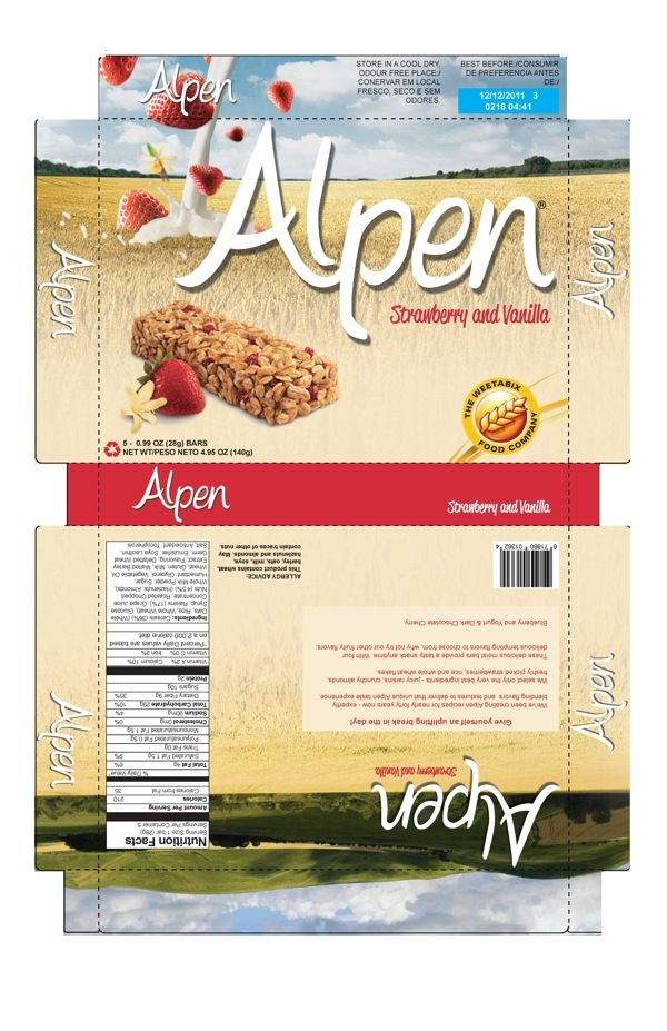 Alpen Cereal Bar Box Re-design by Bansari Shroff, via Behance