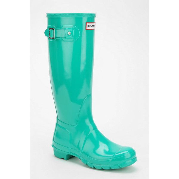 Hunter Original Gloss Rain Boot ($148) ❤ liked on Polyvore featuring shoes, boots, hunter, rainboots, green, rubber boots, rubber rain boots, wellies rubber boots, hunter shoes and shiny boots