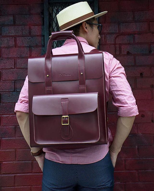 @datswhatupp is ready for #NYFW with the #drmartens Leather Backpack in cherry red.  #drmartenstyle