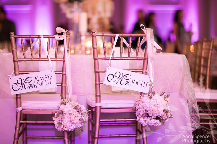 Anna and Spencer Photography, Atlanta Wedding Photographers. Mr. Right Mrs. Always Right Chair Signs at a Pink Wedding Reception in Atlanta.