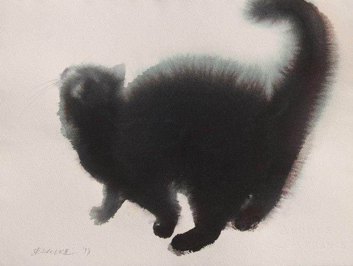 セルビア人芸術家のEndre Penovácさん。彼が水彩で描き出す猫の絵は、とある方法で猫好きには堪らないモフモフ感が演出されています。まずはご覧下さい。