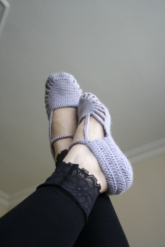Silver Grey Slippers Mothers Day Gift Under 35 by denizgunes - Knit and Crochet