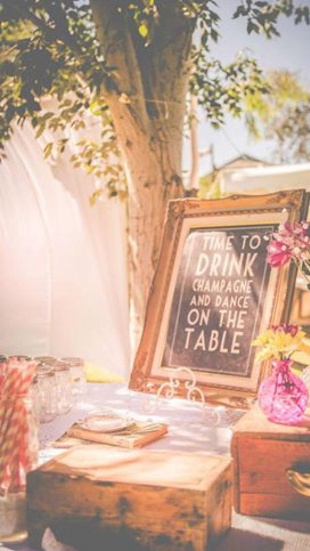 Cocktail and champagne table Vintage country wedding