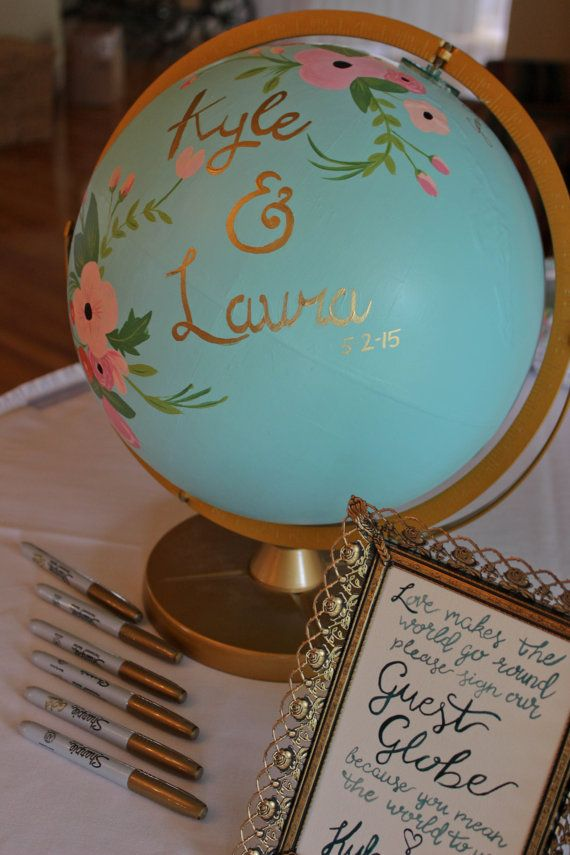 Custom hand painted Globe Guest Book by glimfeathers on Etsy