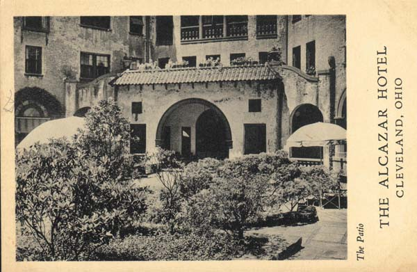 "he Patio; The Alcazar Hotel, Cleveland, Ohio (Cleveland Heights, Ohio) Description Photo shows the courtyard of the Alcazar Hotel, looking northward. It is black and white and shows vegetation inside, as well as umbrellas and tables. The front reads The Patio; The Alcazar Hotel; Cleveland, Ohio."" The unused postcard's back reads, ""Postcard; William T. Higbee, Cleveland, Ohio; This side for correspondence; This side for Address."" Creator unknown Date Original ca. 1925"