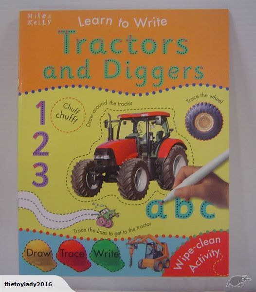 Learn to Write Tractors and Diggers helps children develop pen control to write the alphabet  in a fun, simple way.