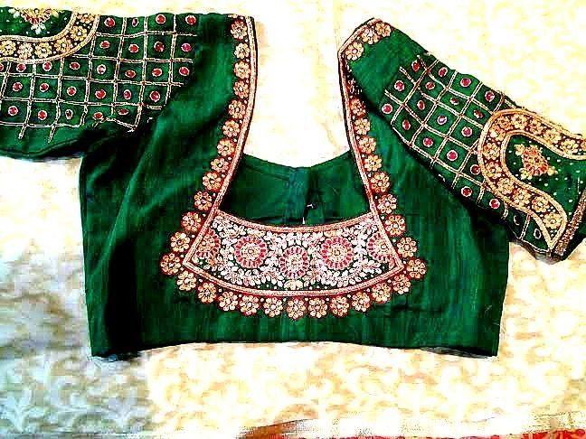 Green blouse back