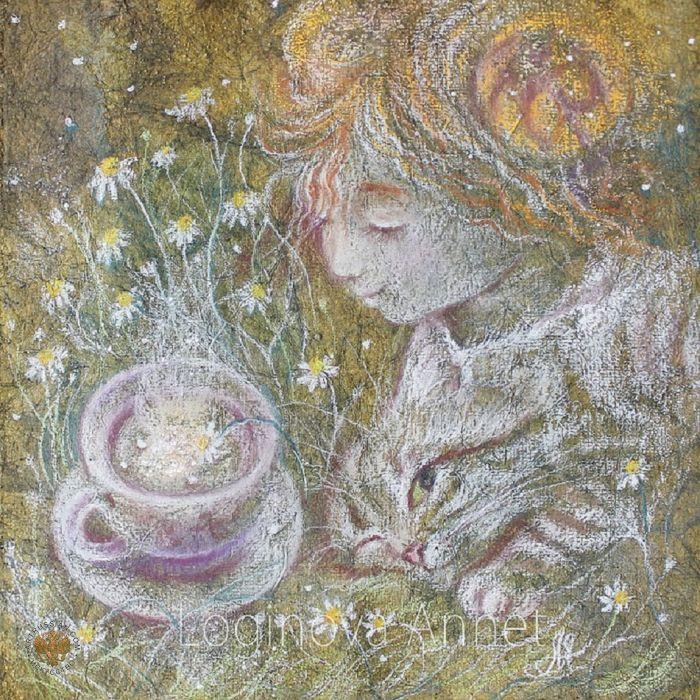 Логинова Аннет Пастель Ромашковый чай для Алисы Жанровая картина Импрессионизм Бумага, пастель. 30x30 2014 зеленый светло зеленый картина в зеленых тонах лес необычная картина волшебство сказочная картина картина пастелью сказка оливковый картина с алисой алиса в стране чудес иллюстрация алиса в комнату девочки подарок девочке рыжая девочка хитрый кот чай весна картина весна