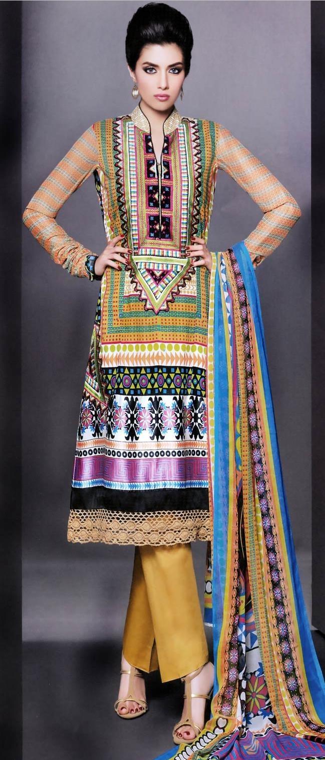 Multicolor Lawn #Cotton #Salwar Suit @ US $93.46