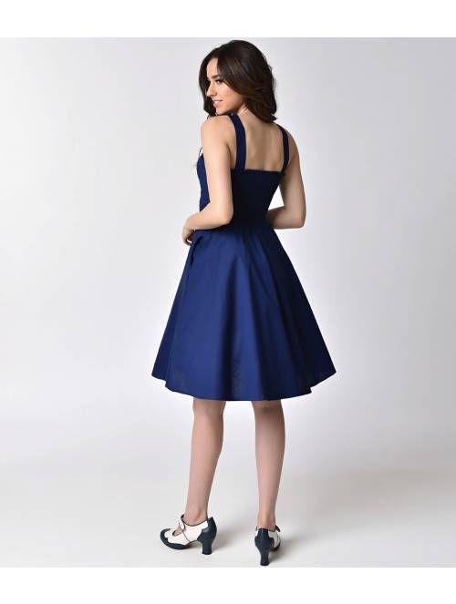 1950s Pin Up Style Navy Blue Cross Neck A-line Stretch Flare Dress