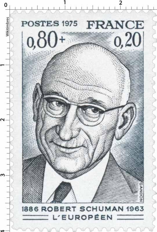Timbre 1975 ROBERT SCHUMAN L'EUROPÉEN 1886-1963 | WikiTimbres