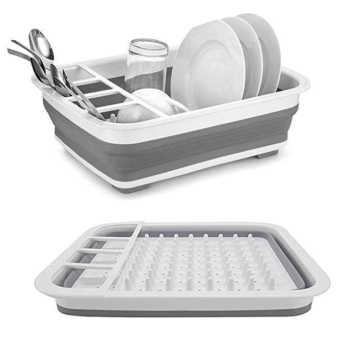 Collapsible Drying Dish Storage Rack Portable Dinnerware Organizer