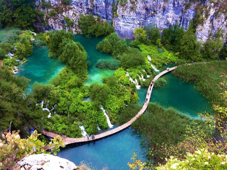 Topical view of the lower lakes at Plitvice Lakes National Park
