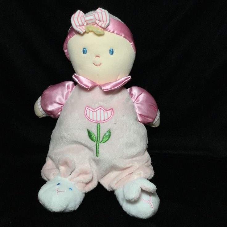 "Kids Preferred Pink Tulip Flower Plush Doll Bunny Slippers 12"" Soft Toy Stuffed #KidsPreferred"