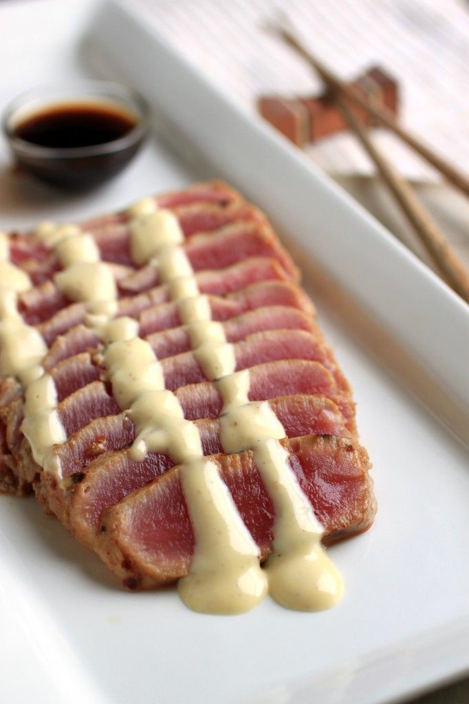 Seared Ahi Tuna with Wasabi Mayo - The Food Lovers Kitchen