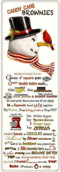 Candy Cane Brownies Recipe 100% Cotton Flour Sack Dish Towel Tea Towel