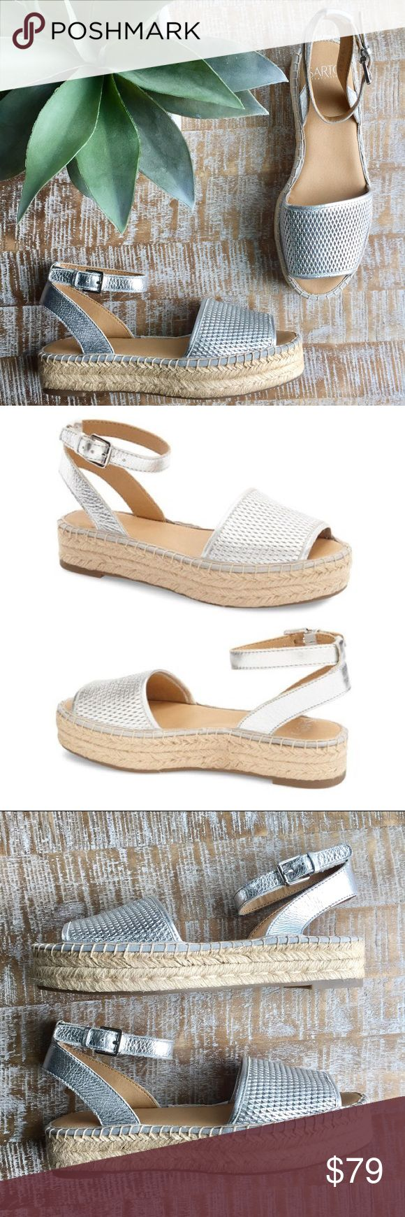 """Franco Sarto Espadrille Platform Sandal NWOB Franco Sarto 'Ravenna' Espadrille Platform Sandal in silver. Size 8.5 Brand new, never worn just didn't keep the box ! 1.5"""" platform with adjustable ankle strap, ankle strap approximately 3.5"""" in height. Perfect for the spring and summer months  Franco Sarto Shoes Espadrilles"""