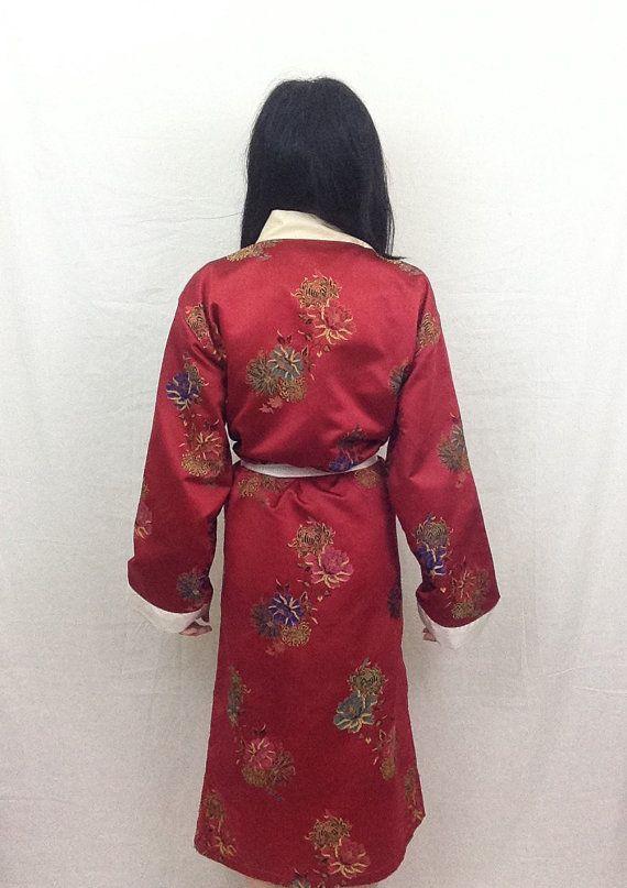 VERKOOP Vtg 90 's rode zijde satijn bloemen Kimono Yukata