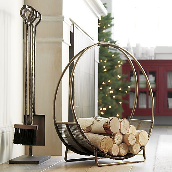 Antique Brass Log Holder in Fireplace Accessories | Crate and Barrel