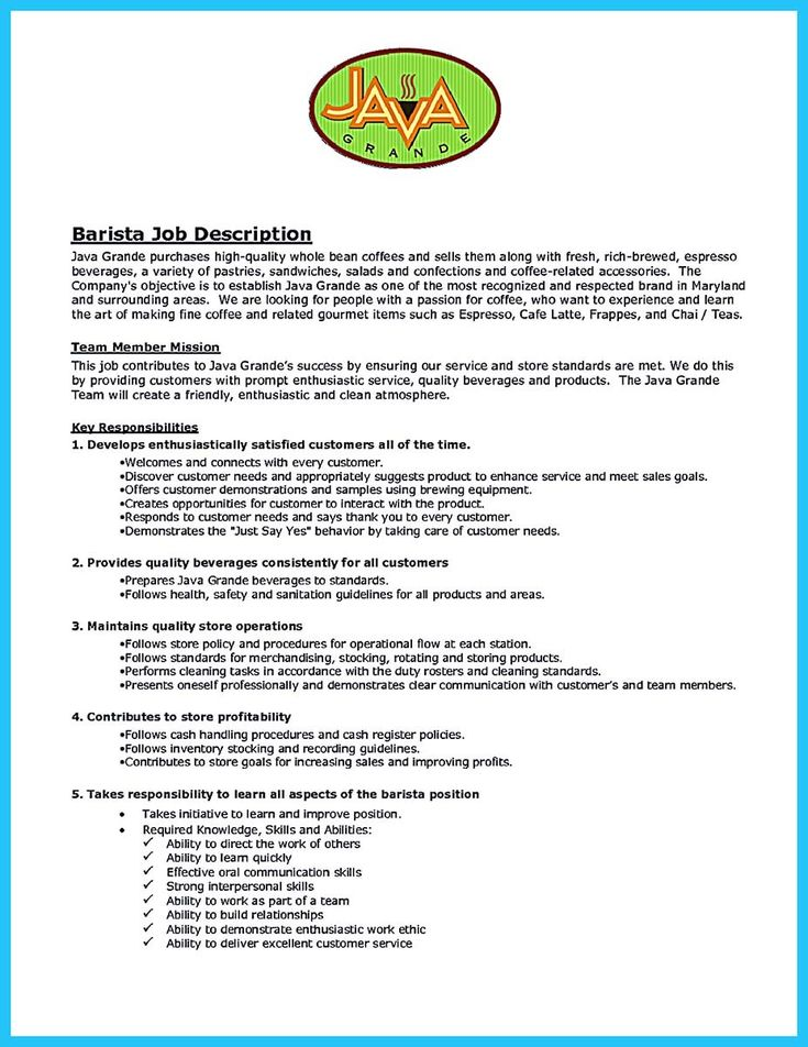 Barista Job Description Resume 3 Cool 30 Sophisticated Barista Resume Sample That Leads To Barista