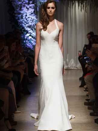 Halter strap wedding dress with embroidery | Matthew Christopher Fall 2018