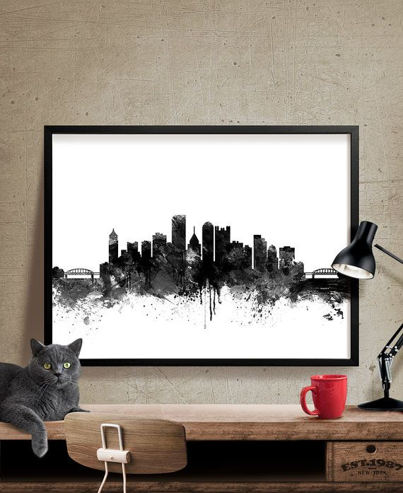 Pittsburgh Skyline Watercolor Print Pittsburgh by FineArtCenter