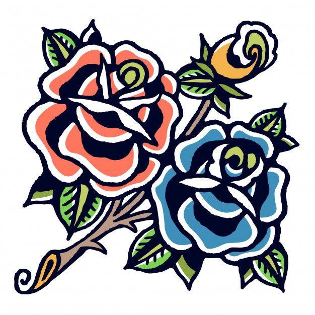 Blaue und orange Rosen Old School Tattoo Vektor Premium Vector | Premium Vector # …   – Tattoo