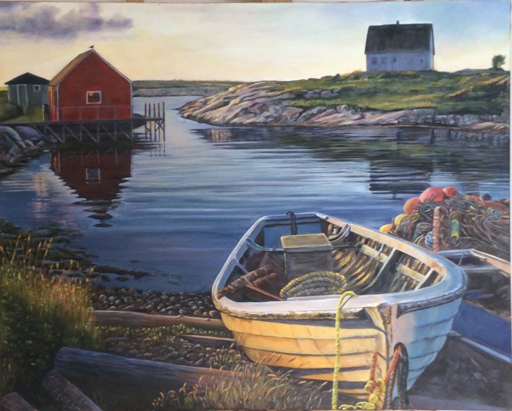 Peggy's Cove Nova Scotia sun setting painted 2015