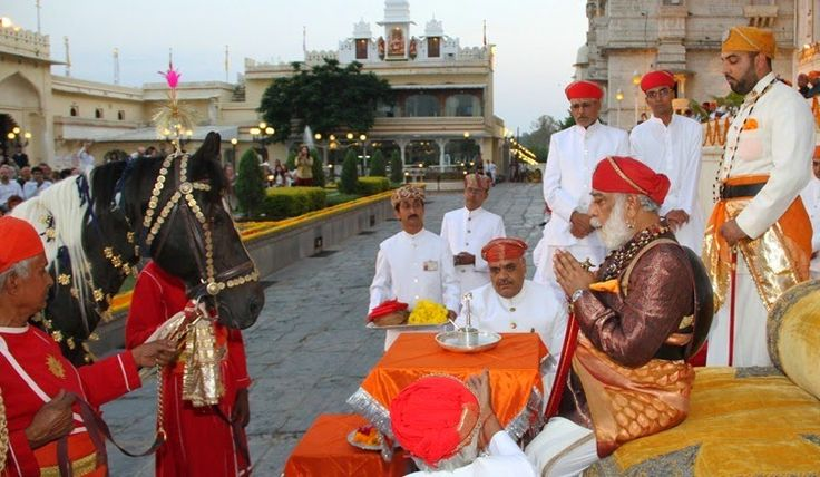 """The horses participating in the poojan belong to an internationally recognized breed known as """"Marwari"""". This name is reflective of their area of origin, which is now a part of the present state of Rajasthan.   Te art of selection or choosing the horse is exceedingly complex and is described in books known as the """"Salotar"""". The royal horses selected for the poojan – Raj Tilak, Raj Roop, Ganesh, Raj Swaroop and Tarangini have been bred on the guidelines provided in these salotars…"""