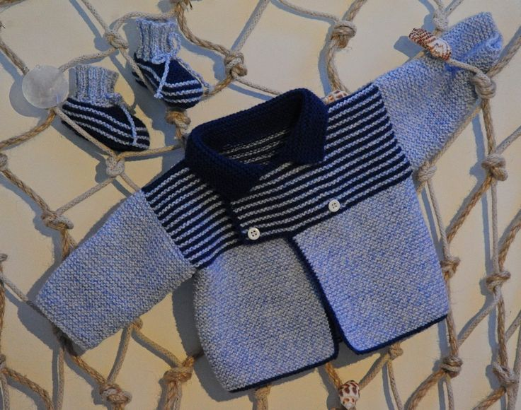 layette ensemble naissance-1 mois neuf tricoté main gilet et chaussons : Mode Bébé par com3pom