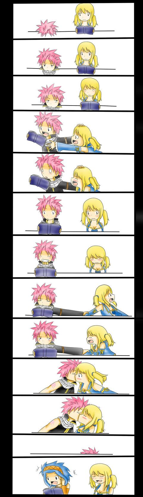 Lucy is ready the novel that she's been writing before she lets Levy reads it, and yes Natsu is READING. It takes him a while to figure out why she was blushing in the beginning (he's not that stup...