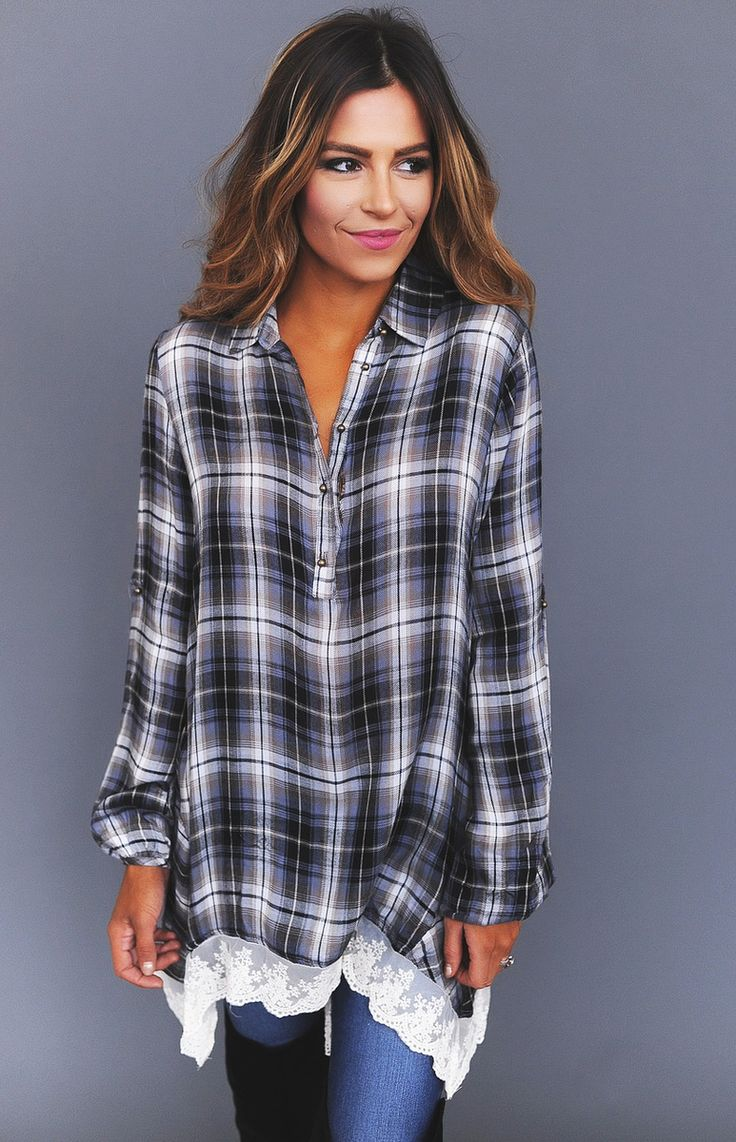 Grey/Black Plaid Lace Trim Top - Dottie Couture Boutique