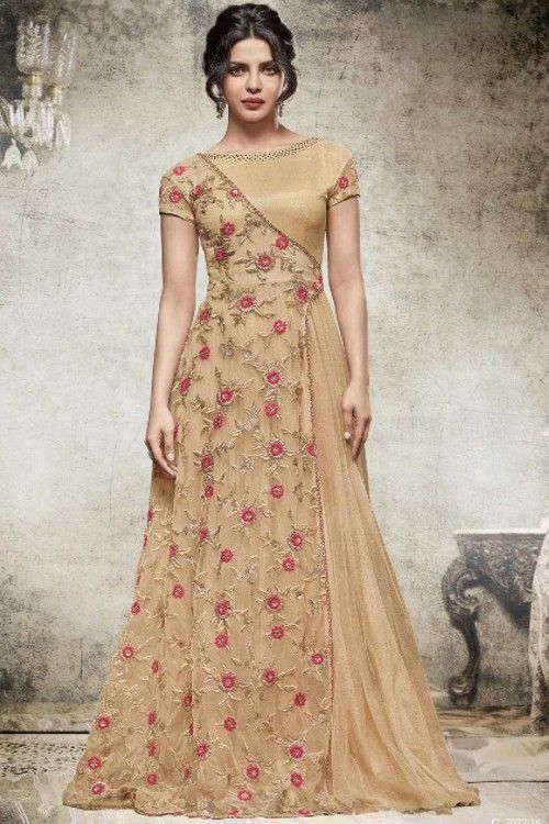 Bollywood Celebrity Priyanka Chopra Beige Color Gown Online   http://www.andaazfashion.co.uk/womens/gowns