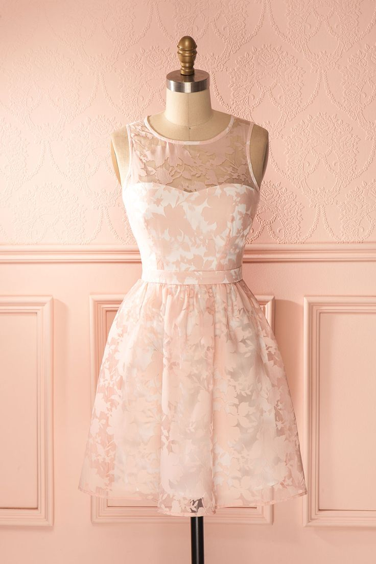Nina Rose - Light pink floral pattern cocktail dress