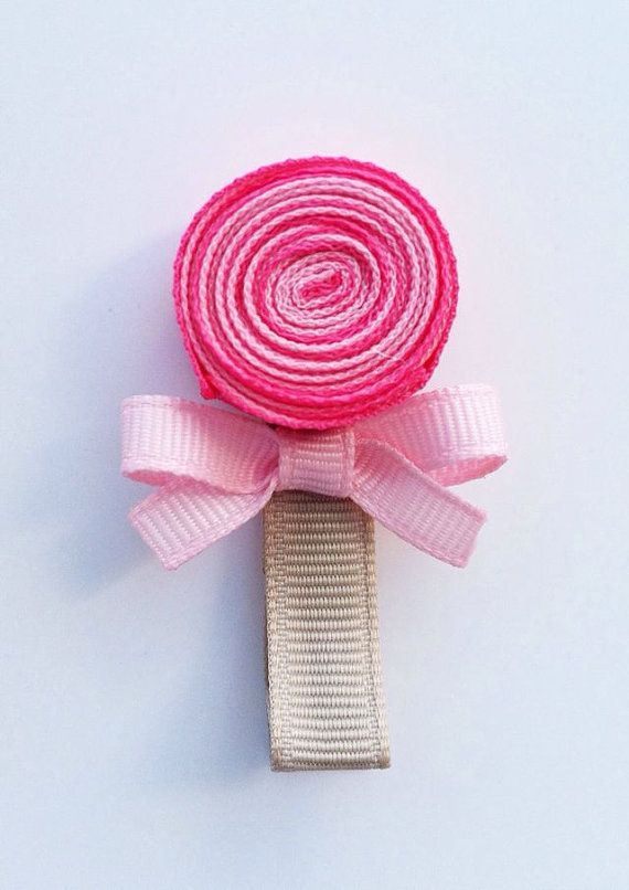 Lollipop Hair Clip Pink Lollipop Ribbon Hair Clip by leilei1202