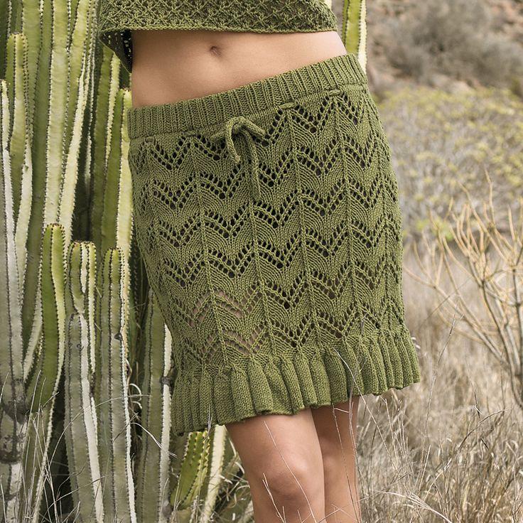 Ажурная юбка с воланом - схема вязания спицами.