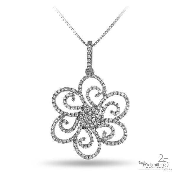 This November at Dana's Goldsmithing, enjoy our monthly featured items - on #sale all month long.  Like our DIAMOND FLOWER PENDANT F0133 Flower Pendant 10k White Gold .37ct  Regular Price $698.00. Feature Sale price this month $558.00 See all of our Featured items here: https://www.danasgoldsmithing.com/ . #diamond #necklace #jewellery #Canada #fashion
