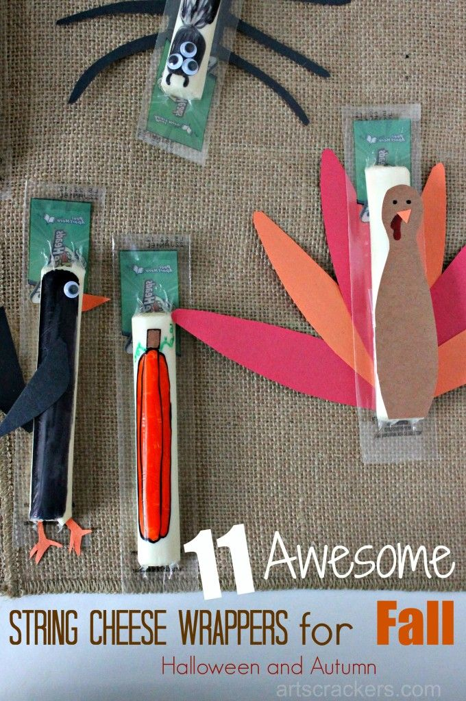 11 Fall String Cheese Wrappers for Kids. Add a little fun to your kid's lunchbox.