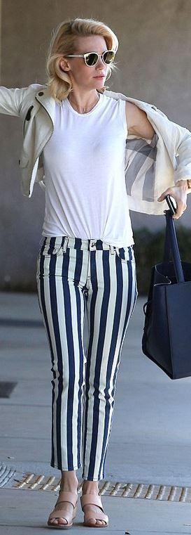 Who made January Jones' white jacket and blue stripe pants?