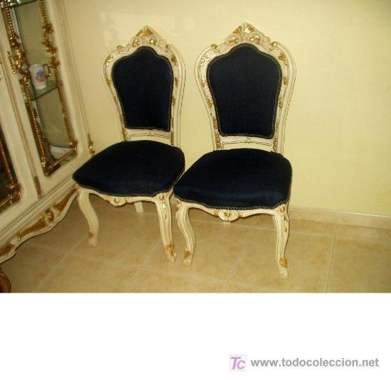 Elegante pareja de sillas estilo luis xv color marfil y for Recamaras estilo luis 15