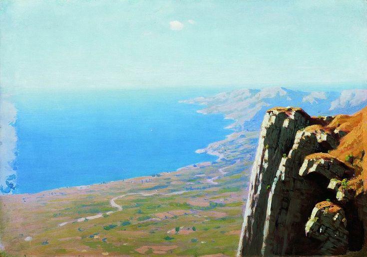 Kuindzhi Coast of the sea with a rockБерег моря со скалой1898—1908Бумага на холсте, масло39,3 × 56,3Вятский художественный музей имени Васнецовых