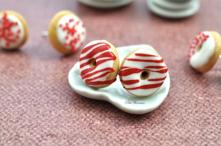 Orecchini Ciambella-Earring Donuts #earrings #Orecchini #Ciambella #Donuts #donut #Gioielli #miniatures #bijoux #polymer #clay