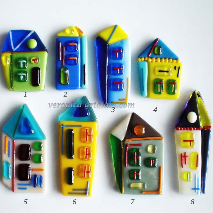 Art Glass decorative SMALL COLORED HOUSES fusing