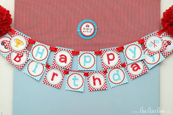 Race Car Birthday Party - Banner (Happy Birthday) NonPersonalized ...