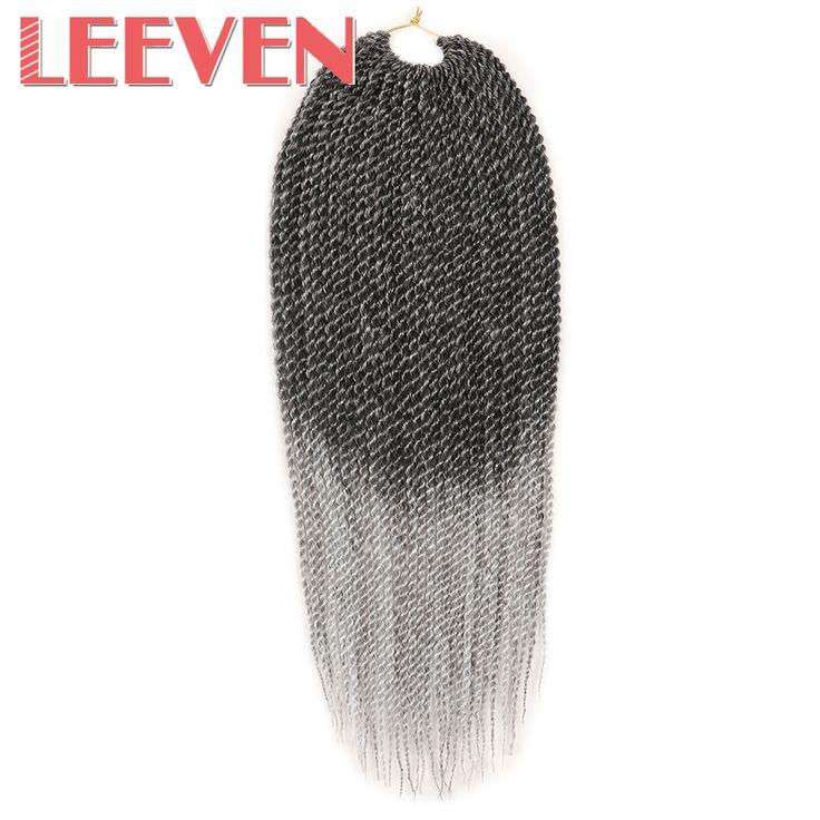 Leeven 18'' Synthetic Senegalese Twist Crochet Braid Hair Omber Black Braiding Hair Extension High Temperature Fiber 10Piece #Affiliate