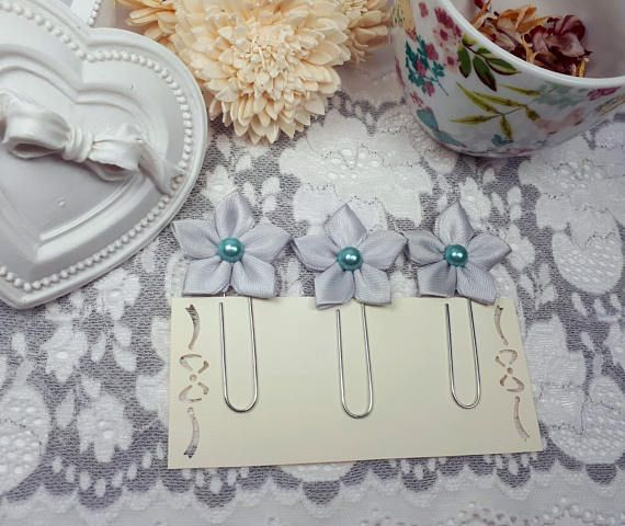 Gray page markers flower planner clips gray flower clips