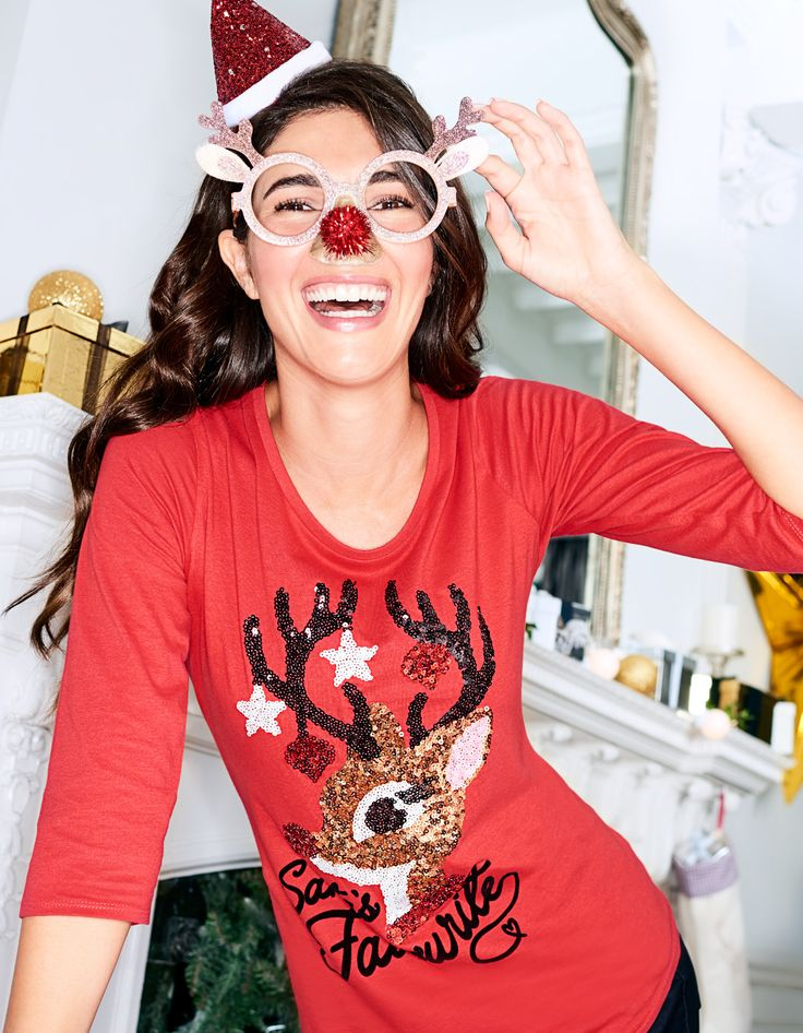 George Christmas Sequin Rudolph Top