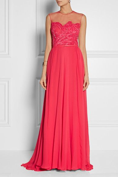 ELIE SAAB Tulle-paneled embellished silk-chiffon gown   NET-A-PORTER