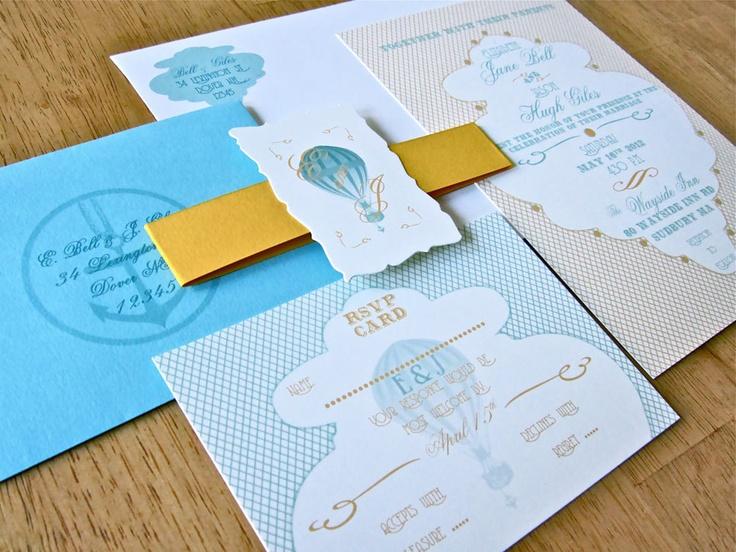 Paperchase Wedding Invitations: Hot Air Balloon Invitation - Balloon On Envelope